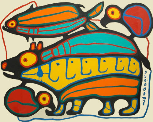 naissance-norval-morrisseau/norval-morrisseau-bear-with-fish--loons.jpg